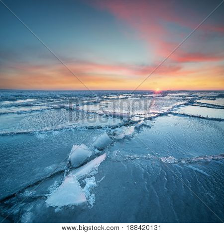 Seascape during sundown in the winter time. Beautiful natural landscape in the winter time
