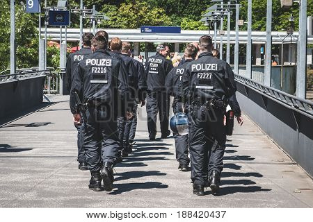 Group Of German Riot Police From Behind