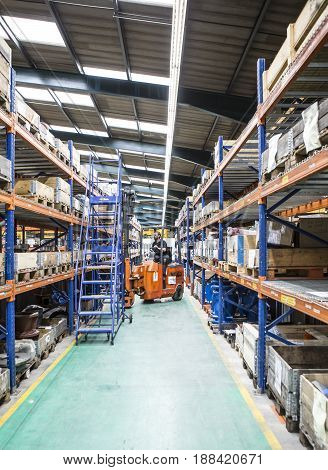 SWINDON UK - MAY 1 2017: Bendi Fork Lift Truck in warehouse
