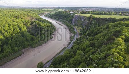 The Avon Gorge at low tide in Bristol England. looking towards Avonmouth and the severn estuary