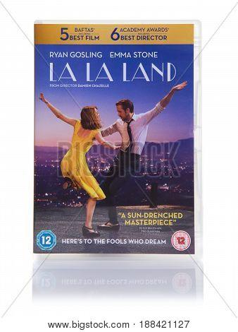 SWINDON UK - MAY 27 2017: LA LA LAND Movie DVD on a white background