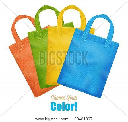 Modern colorful canvas tote bags collection online season sale corporate identity template advertisement poster realistic vector illustration