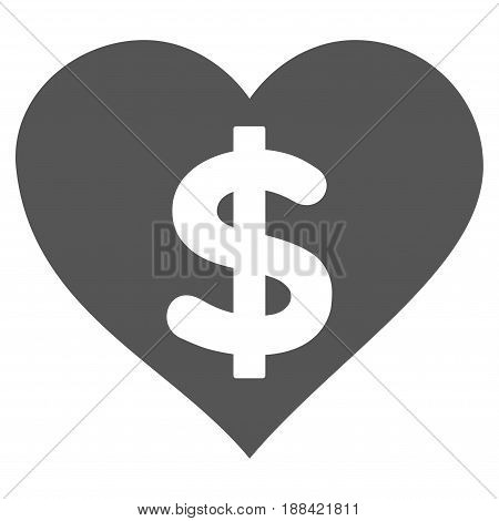 Paid Love flat icon. Vector gray symbol. Pictogram is isolated on a white background. Trendy flat style illustration for web site design, logo, ads, apps, user interface.