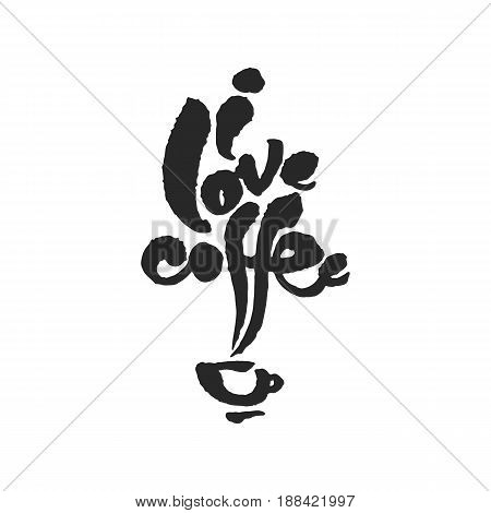I Love Coffee. Hand written phrase in calligraphic style. Black on white background. Clipping paths included.