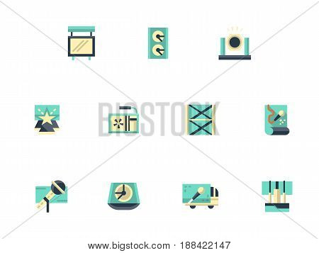 Symbols of equipment for festival stage. Sound and light system, concert organization elements. Collection of stylish flat color vector icons.