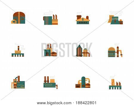 Factory and plant buildings. Symbols for industrial facility, area, architecture. Collection of stylish flat color vector icons.