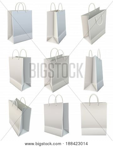 Blank white shopping bag view positions realistic images icons set commercial corporate identity template  isolated vector illustration