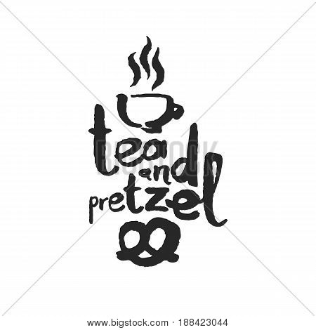 Tea And Pretzel. Hand written phrase in calligraphic style. Black on white background. Clipping paths included.