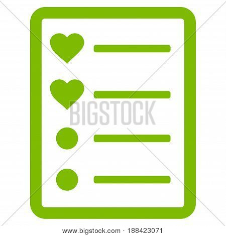 Love List Page flat icon. Vector light green symbol. Pictograph is isolated on a white background. Trendy flat style illustration for web site design, logo, ads, apps, user interface.