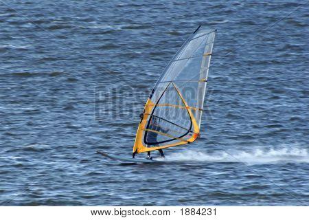 Very Fast Moving Windsurfer