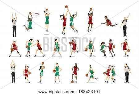 Basketball players set illustrations on white background.