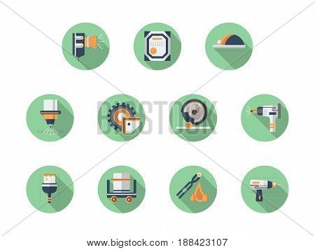 Symbols of metal workshop equipment. Industrial saw, sandblasting, laser processing and other metalworking elements. Collection of stylish flat color round vector icons.