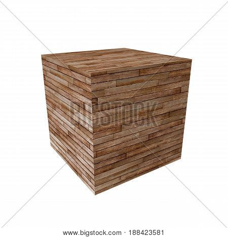 3d illustration of a wooden cube isolated on white background