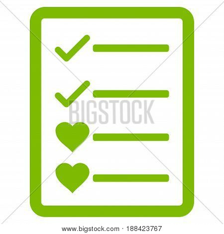 Lovely List Page flat icon. Vector light green symbol. Pictogram is isolated on a white background. Trendy flat style illustration for web site design, logo, ads, apps, user interface.