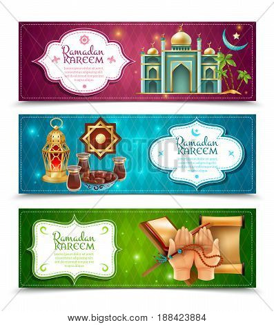 Ramadan kareem muslims religious holy month fasting practice symbols 3 colorful background banners set isolated vector illustration