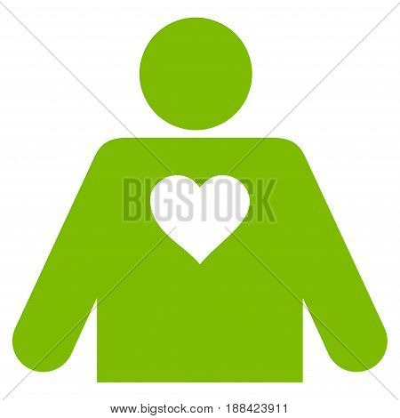 Lover Person flat icon. Vector light green symbol. Pictograph is isolated on a white background. Trendy flat style illustration for web site design, logo, ads, apps, user interface.