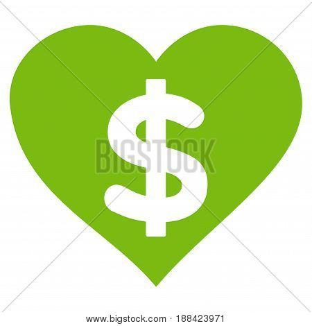 Paid Love flat icon. Vector light green symbol. Pictogram is isolated on a white background. Trendy flat style illustration for web site design, logo, ads, apps, user interface.