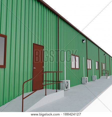 Prefab green steel building garage door on white background. 3D illustration
