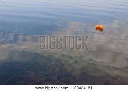Two red buoy on Baltic sea. Denmark