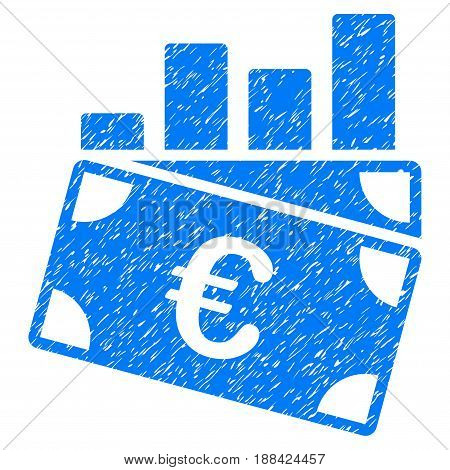 Grunge Euro Sales Chart icon with grunge design and unclean texture. Unclean vector blue pictogram for rubber seal stamp imitations and watermarks. Draft emblem symbol.