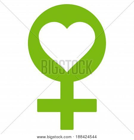 Woman Love Symbol flat icon. Vector light green symbol. Pictograph is isolated on a white background. Trendy flat style illustration for web site design, logo, ads, apps, user interface.