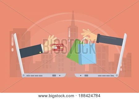 E-commerce concept illustration. Laptops with hands. Credit card and shopping bag.
