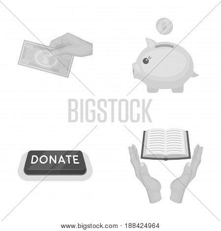 Hand with money for poshestvovaniya, a piggy bank for charity, a button with an inscription, a book for the blind in their hands. Charity and donation set collection icons in monochrome style vector symbol stock illustration .