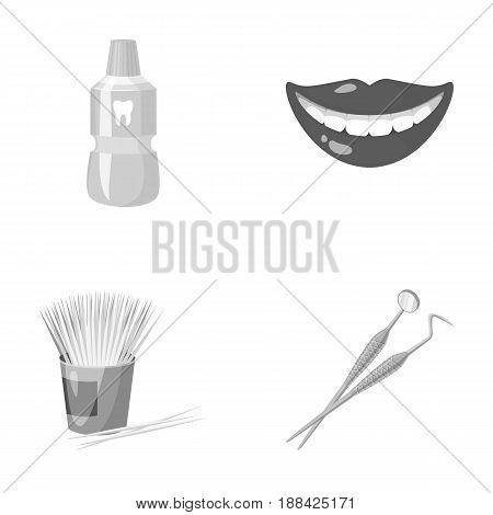 Dental sterile liquid in the jar, lips, teeth, toothpicks in the jar, medical instruments for the dentist. Dental care set collection icons in monochrome style vector symbol stock illustration .