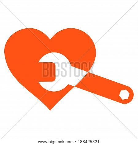 Heart Surgery Wrench flat icon. Vector orange symbol. Pictogram is isolated on a white background. Trendy flat style illustration for web site design, logo, ads, apps, user interface.