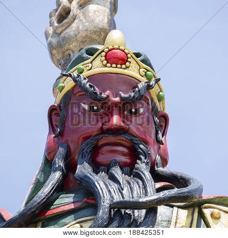 Chinese statue of Guan Yu in island Koh Samui Thailand . Close up