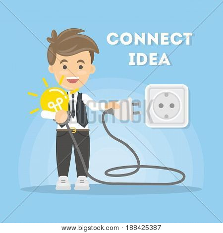Connection of ideas. Businessman with lightbulb and plug.