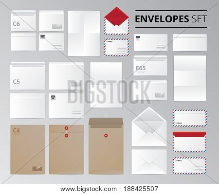 Realistic paper office envelopes document letter set of isolated images with templates for different sheet size vector illustration