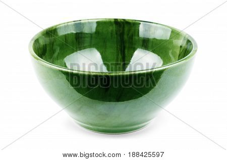 Green plate isolated on white Serving, Flatware, Tableware, Tablecloth