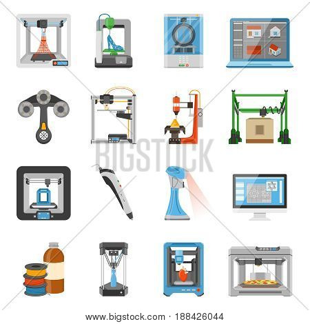 3D printing icons set of monitor with software on screen details and consumables for scanners and printers flat vector illustration