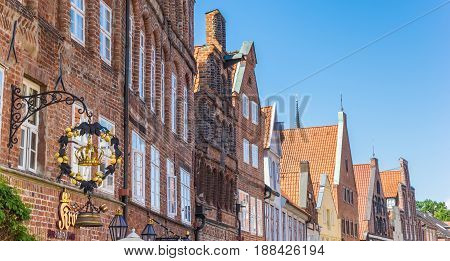 LUNEBURG, GERMANY - MAY 21, 2017: Panorama of historic facades in the old center of Luneburg, Germany