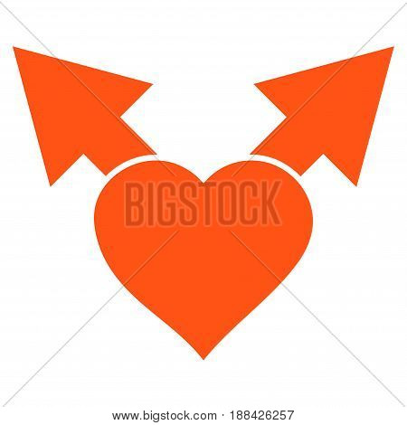 Love Variant Arrows flat icon. Vector orange symbol. Pictograph is isolated on a white background. Trendy flat style illustration for web site design, logo, ads, apps, user interface.