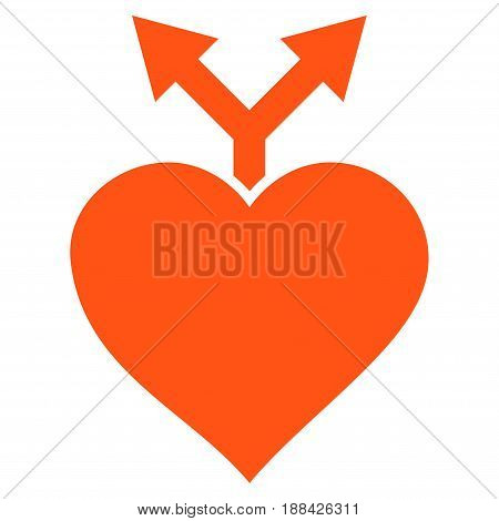 Love Variants flat icon. Vector orange symbol. Pictogram is isolated on a white background. Trendy flat style illustration for web site design, logo, ads, apps, user interface.