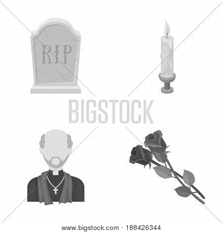 A granite tombstone with an inscription, a mourning candle, a pasteur, a priest, mourning roses. Funeral ceremony set collection icons in monochrome style vector symbol stock illustration .