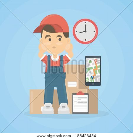 Delivery man with parcel and notes in red uniform on white background. Late, missed man.