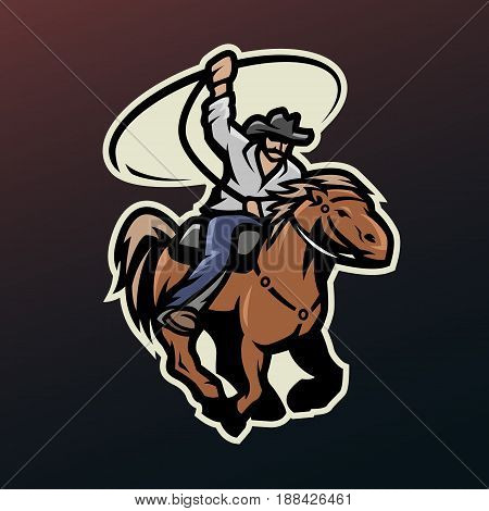 Cowboy with a lasso on a horse, on dark background.