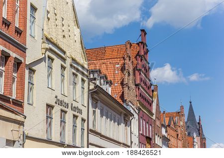 LUNEBURG, GERMANY - MAY 21, 2017: Historic facades in the old town of Luneburg, Germany