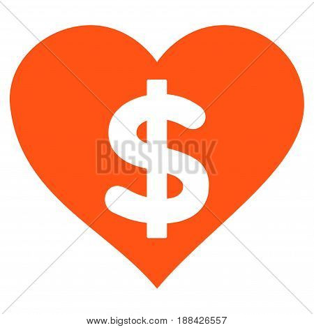Paid Love flat icon. Vector orange symbol. Pictogram is isolated on a white background. Trendy flat style illustration for web site design, logo, ads, apps, user interface.