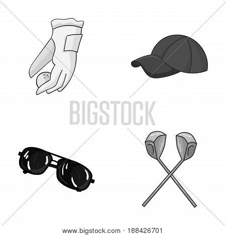 A glove for playing golf with a ball, a red cap, sunglasses, two clubs. Golf Club set collection icons in monochrome style vector symbol stock illustration .
