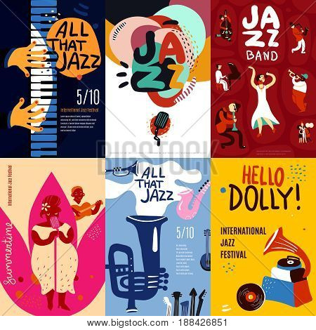 Colorful jazz festival musicians singers and musical instruments poster set flat isolated vector illustration