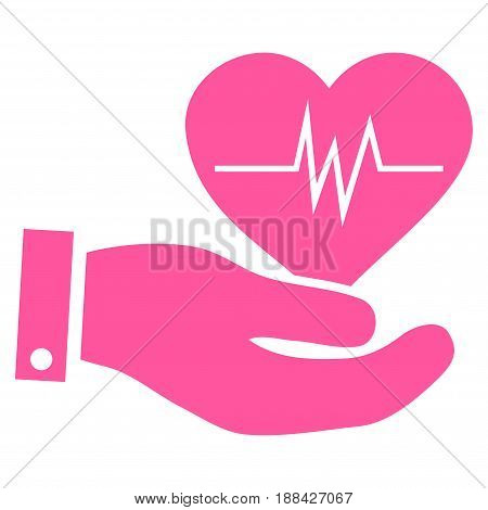Cardiology flat icon. Vector pink symbol. Pictogram is isolated on a white background. Trendy flat style illustration for web site design, logo, ads, apps, user interface.