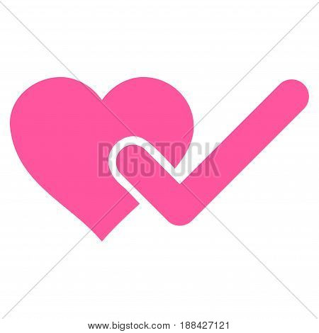Checked Love Heart flat icon. Vector pink symbol. Pictogram is isolated on a white background. Trendy flat style illustration for web site design, logo, ads, apps, user interface.