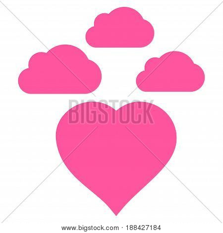 Cloudy Love Heart flat icon. Vector pink symbol. Pictogram is isolated on a white background. Trendy flat style illustration for web site design, logo, ads, apps, user interface.
