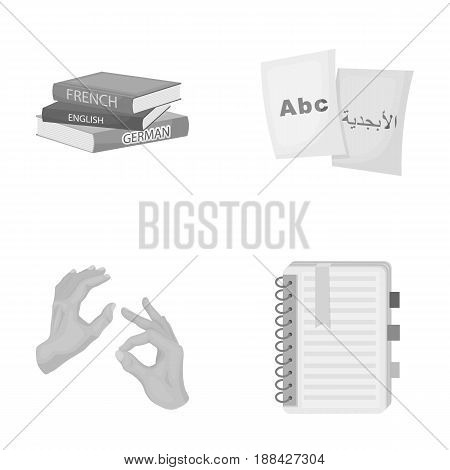 A pile of books in different languages, sheets of paper with translation, a gesture of deaf mutes, a notebook with text. Interpreter and translator set collection icons in monochrome style vector symbol stock illustration .