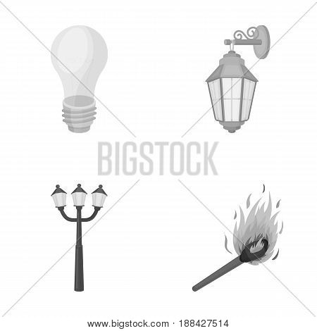 LED light, street lamp, match.Light source set collection icons in monochrome style vector symbol stock illustration .