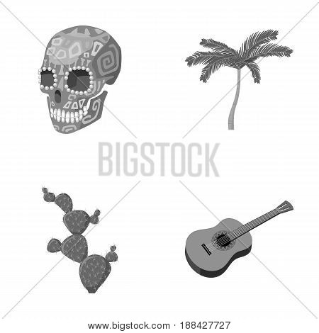 Green skull with a picture, a palm tree, a guitar, a national Mexican instrument, a cactus with spines. Mexico country set collection icons in monochrome style vector symbol stock illustration .